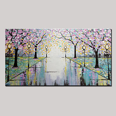Flower Trees Road-Modern Canvas Art Wall Decor- Landscape Oil Painting Wall Art Stretched Frame Ready to Hang