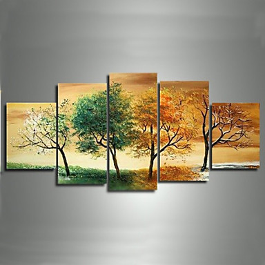 Four Seasons Trees-Modern Canvas Art Wall Decor-Landscape Oil Painting Wall Art with Stretched Frame Ready to Hang