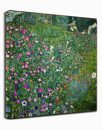 Canvas Wall Art Print Flower Garden by Gustav Klimt Abstract Painting Framed Ready to hang