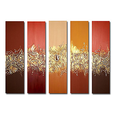 Hand-painted Abstract Oil Painting with Stretched Frame set of 5 Ready to Hang WSA3219