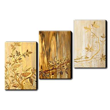 Golden Leaves-Modern Canvas Art Wall Decor-Abstract Oil Painting Wall Art with Stretched Frame Ready to Hang