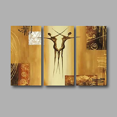 Abstract Beige Golden Dance Oil Painting Wall Art with Stretched Frame Ready to Hang