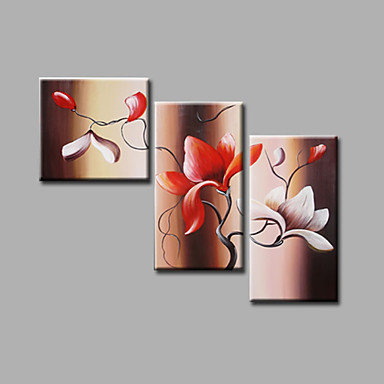 Flowers Magnolia Brown Red Floral Oil Painting Canvas Wall Art with Stretched Frame Ready to Hang