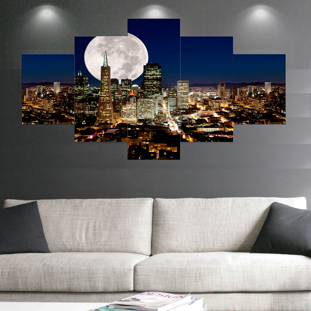 Moonshine City Night View Paintings Wall Art Giclee Canvas Prints Landscape Pictures Paintings on Canvas Stretched and Framed