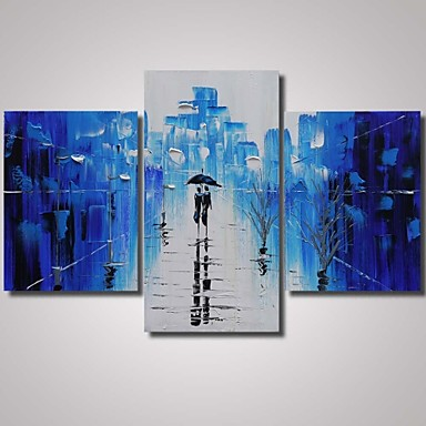 Blue Rainy Street with Trees-Landscape Oil Painting Wall Art-Modern Canvas Art Wall Decor with Stretched Frame Ready to Hang