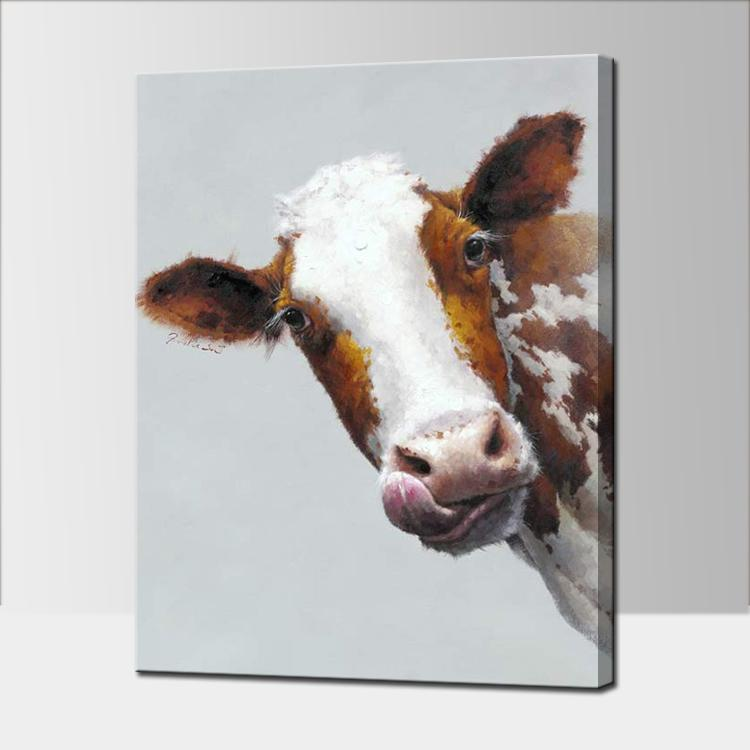 FARM COW -Animal Oil Painting Wall Art-Modern Canvas Art Wall Decor with Stretched Frame Ready to Hang