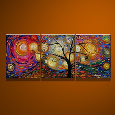 Rich Tree-Modern Canvas Art Wall Decor-Abstract Oil Painting Wall Art Stretched And Framed