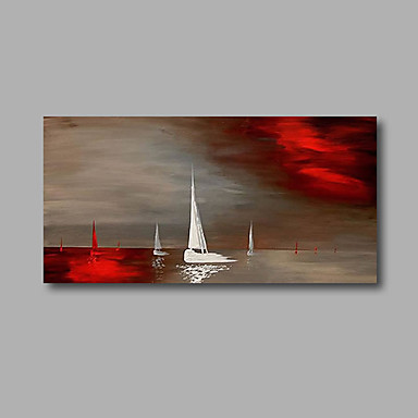 Seascape Boats- Modern Canvas Landscape Oil Painting Wall Art with Stretched Frame Ready to Hang