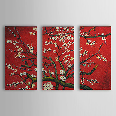 Plum Bloom-Modern Canvas Art Wall Decor-Floral Oil Painting Wall Art with Stretched and Framed Ready to Hang