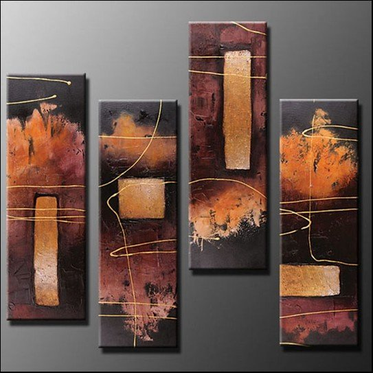 Hand Painted Oil Painting Abstract Set of 4 Panels Framed Canvas Wall Art Ready to Hang