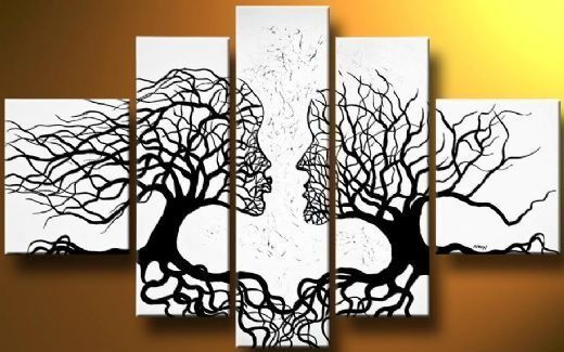 A Pair Of Black WhiteTrees-Modern Canvas Art Wall Decor-Abstract Oil Painting Wall Art with Framed Ready to Hang