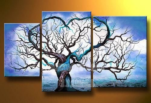 The Blue Love Tree-Modern Canvas Art Wall Decor-Landscape Oil Painting Wall Art with Stretched Frame Ready to Hang