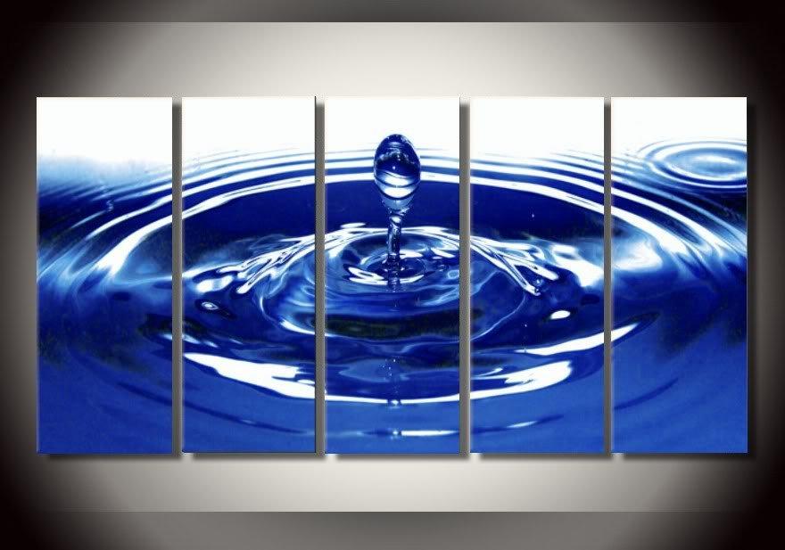 Blue Drop Water Modern Canvas Art Wall Decor Abstract