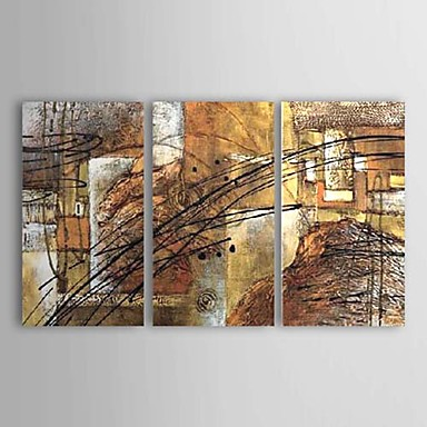 Black Lines-Modern Oil Painting Wall Art with Stretched Frame Ready to hang