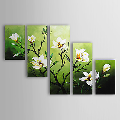 Green floral oil painting wall art modern canvas art wall decor with stretched and framed