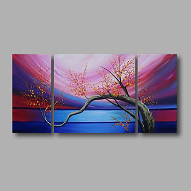 Pink Blossom Flowers Blue-Modern Canvas Art Wall Decor-Floral Oil Painting Wall Art with Stretched Frame Ready to Hang