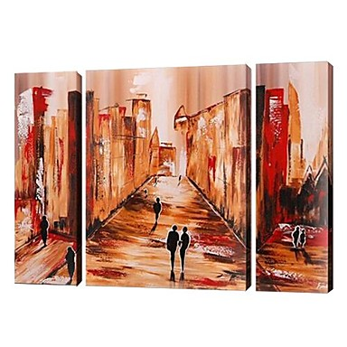 Cityscape Street -Landscape Oil Painting Wall Art-Modern Canvas Art Wall Decor with Stretched Frame Ready to Hang