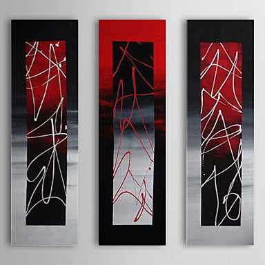 Red White In the mirror-Modern Abstract Oil Painting Wall Art With Stretched Frame Ready to Hang