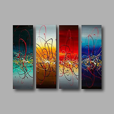 Blue Turquoise Red- Abstract Oil Canvas Painting Wall Art Stretched Frame Ready to Hang