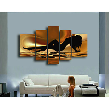 Brown Sea Nude Women-Nude Oil Painting Wall Art-Modern Canvas Art Wall Decor
