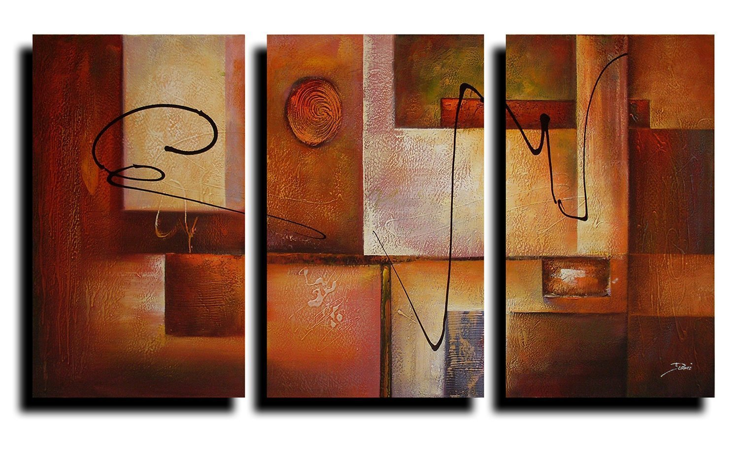Geometric Graphes Modern Abstract Oil Painting Canvas Wall Art