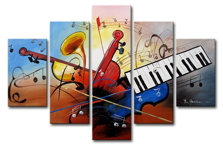 Musical Instruments-Music Oil Painting Wall Art-Modern Canvas Wall Art with Stretched and Framed Ready to Hang